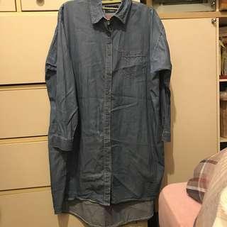 🚚 Queenshop牛仔襯衫洋裝