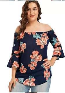 🚚 Plus size Off Shoulder Floral Top blouse