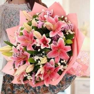 Pink Lilies Hand Bouquet