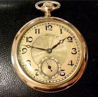 30年代 瑞士浪琴 機械上鍊懷錶 Vintage Longines Mechanical Manual Wind Pocket Watch: Original Dial with perfect Gold Filled Case 48mm Diameter in working order 原裝火車頭噴射錶面及藍鋼時分針,超靚厚混金錶殼 48mm 直徑,運作正常。