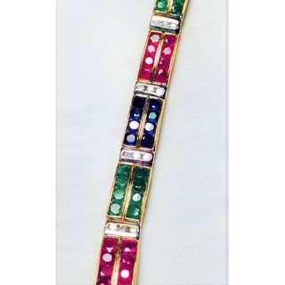 Bracelet with 4 types of Genuine Diamond, Ruby, Sapphire and Tourmaline