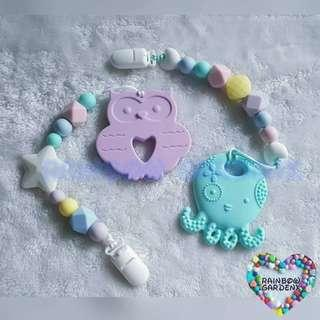 Customised Silicone beads Pacifier Clip + Octopus /  Elephant Teether Combo