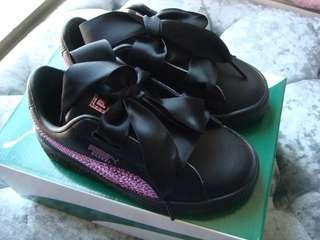 全新現貨Basket Heart Bling PS Kid 女小童休閒鞋 顏色 黑色 尺碼 UK 9.5