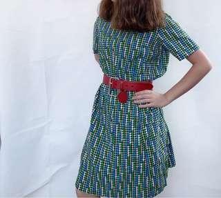80s Houndstooth Pattern Dress 千鳥格 圖案 連衣裙 vintage