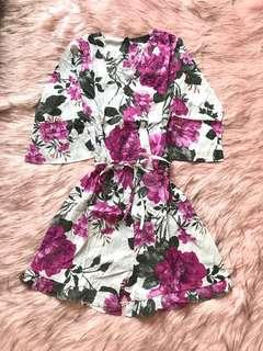 NEW ‼️floral kimono romper ~ playsuit kimono celana pendek motif bunga