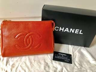 🈹Chanel vintage 焦糖色魚子醬 22cm pouch/clutch/chain bag
