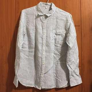 MUJI 無印良品 亞麻白底藍色直條紋口袋長袖襯衫 L