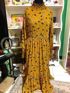 Mustard turtle neck dress