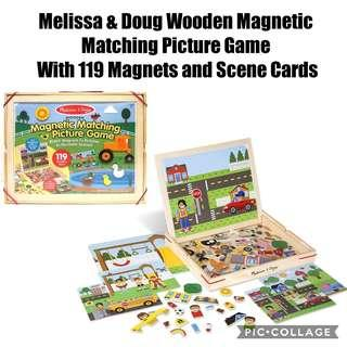 *Brand New* Melissa & Doug Wooden Magnetic Matching Picture Game With 119 Magnets and Scene Cards Educational Tools for Homeschooling (Great for Birthday, Christmas, Holiday Traveling ) Tot / Home School Teaching Learning Resources Whiteboard Board Game