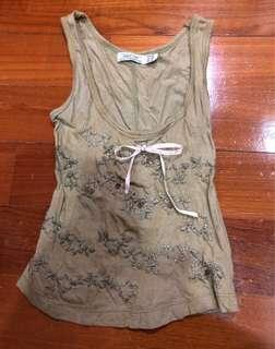 Zara Sleeveless Army Green Top