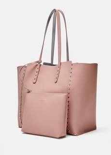 🚚 Zara 雙面用鑲卯釘大托特包 肩背包 側背包 購物袋 ~原價1290元