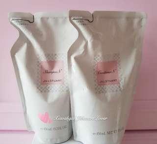 Jillstuart 450ml shampoo N 450ml conditioner N refill packs for pump 500ml bottles and 300ml crystal bottles