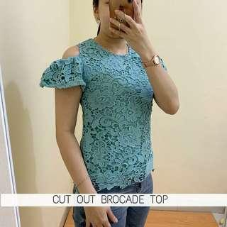 CUT OUT BROCADE TOP