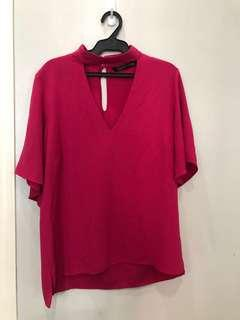 Zara V-Neck Choker Pink Top