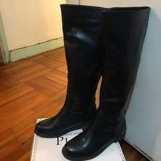 Leather Boots boots Plata 黑色仿皮boot 銀鏈 stage of playlord size 37 100% new and real 😱長boot 長靴 New Year Quick SALE!!