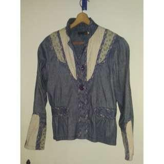 Denim folk style jacket