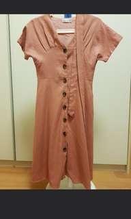 Pink Button Down Linen Dress