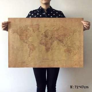 Vintage Style Retro World Map Wall Decoration Office Home Living Room Study Room