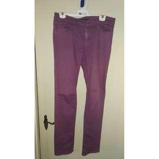 Uniqlo purple skinny jeans
