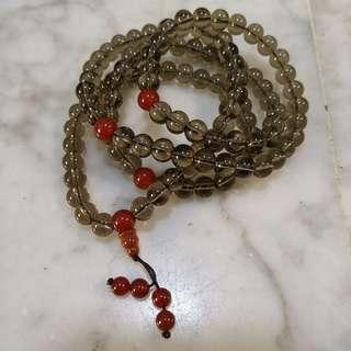 Smoky Quartz Gemstone Beads 茶晶石 - 108 beads, with 3 counter markers every 36 beads (size 8mm)
