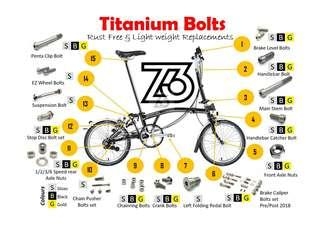 🚚 Titanium Bolts and Nuts for Brompton