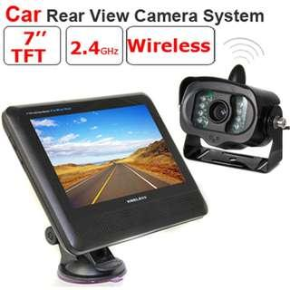 "2.4GHZ Wireless Reverse Back Up Car Rear View IR Night Vision Camera +7"" LCD Monitor Kit CR006   #1208"