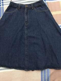 Midi maong skirt