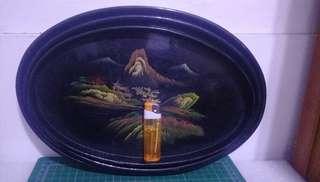 🚚 391.早期手工漆器盤子