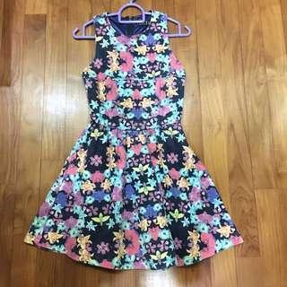 Floral Halter Skater Dress