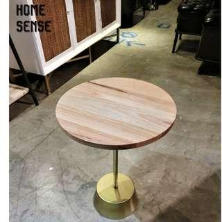 WOODEB ROUND SIDE TABLE / METAL GOLD BASE