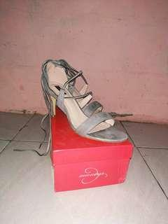 Mandy's Shoes Lace Up Sandal Heels Grey