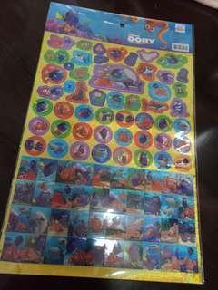 正版Disney迪士尼兒童海底奇兵Nemo多莉賀卡閃粉貼紙