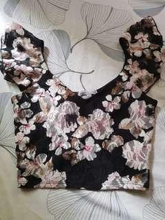 Charlotte Russe Floral Lace Crop Top