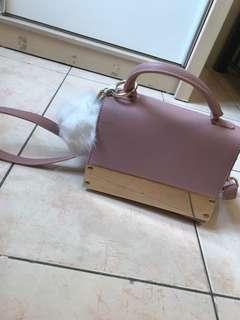 Handbag with fur pom lamoda