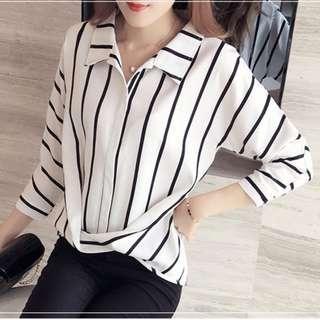 💋 Korean Striped Blouse
