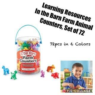 *Brand New* Learning Resources In the Barn Farm Animal Counters, Set of 72 Educational Tools for Homeschooling (Great for Holiday Traveling Busy Activities ) Tot / Home School Math Teaching Learning Resources