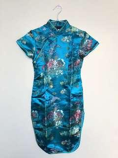 Chinese Turquoise Blue Silk Dress - size 16 (Girls)