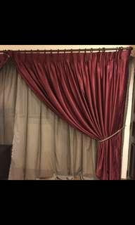 Custom Made Curtain in Maroon