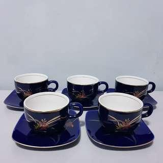 Code231: 5pairs Cobalt blue cup and saucer set