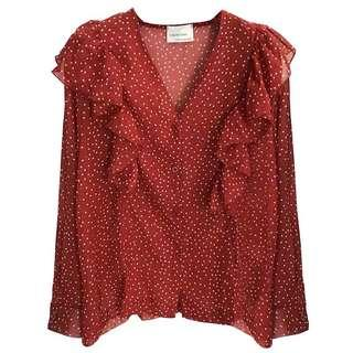 Ruffle red polka dots tops