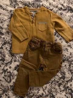 Zara baby boy knit top & denim jean set