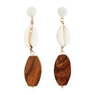 🚚 Brand new Lovisa Cowrie Shell brown wood drop earrings bohemian boho gypsy