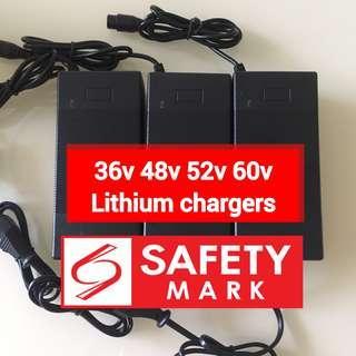 36v 48v 52v 60v lithium battery escooter charger