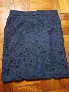 Dark blue lace skirt