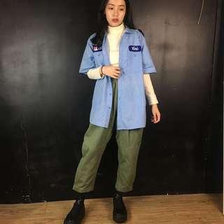 🚚 古著 藍色條紋布章短袖工作襯衫