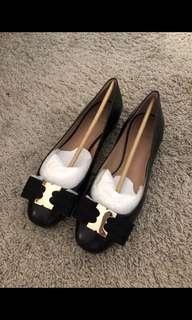 Tory burch gemini bow leather flat shoes