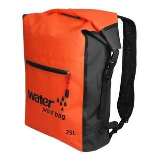 25L Waterproof Backpack Outdoor Water Sports Dry Bag Roll Top Storage Sack Dust Proof Pack with Zipper Compartment Pouch and Adjustable Shoulder Strap for Kayaking Camping Swimming Boating Sailing Hiking Fishing Canoeing Floating Climbing Travel