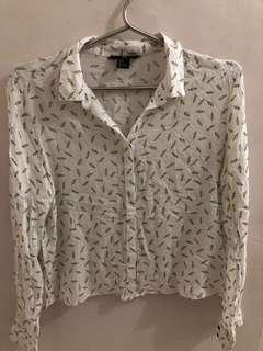 H&M white long sleeve blouse