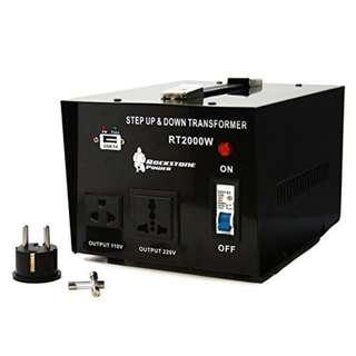 Rockstone Power 2000 Watt Heavy Duty Step Up/Down Voltage Transformer Converter - Step Up/Down 110/120/220/240 Volt - 5V USB Port - CE Certified   #1214