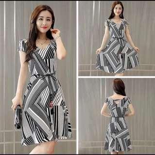 🚚 BN Black White Striped Dress